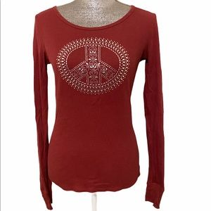 Lucky Brand Waffle Knit Peace Sign Top S